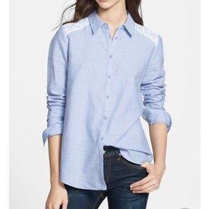 Hinge Blue White Polka Dot Shirt Large Size 1
